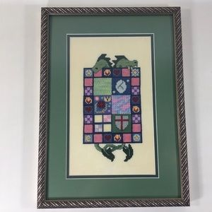 Framed Embroidered Cross Stitched Dragons Quilt
